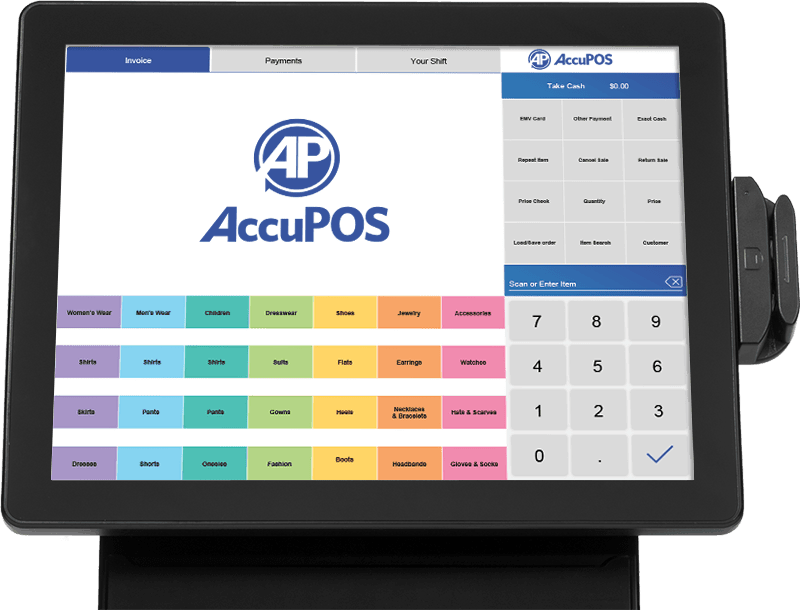 AccuPOS software installed on all-in-one point of sale desktop device