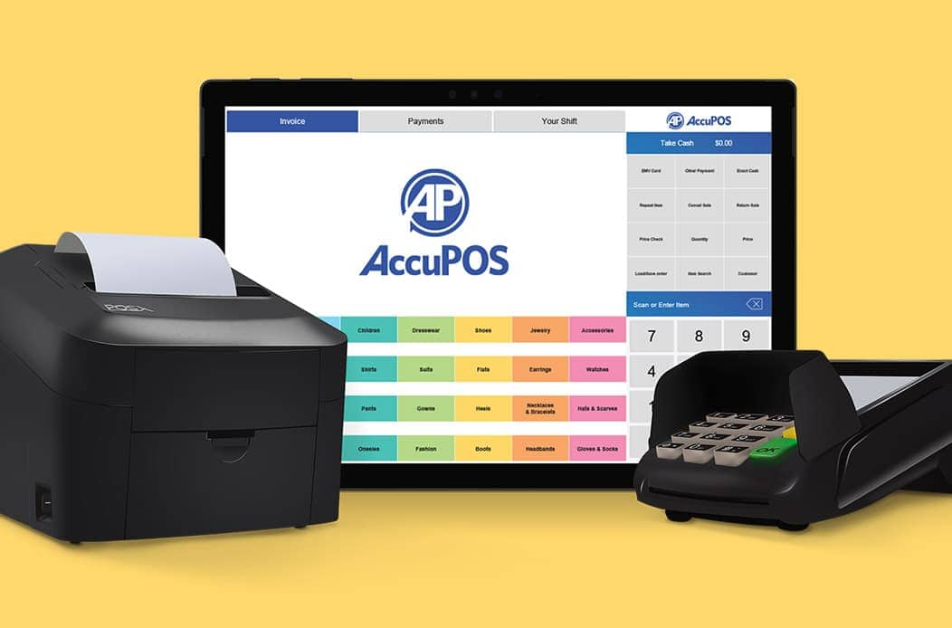 AccuPOS on Microsoft Surface Pro with receipt printer and EMV card reader