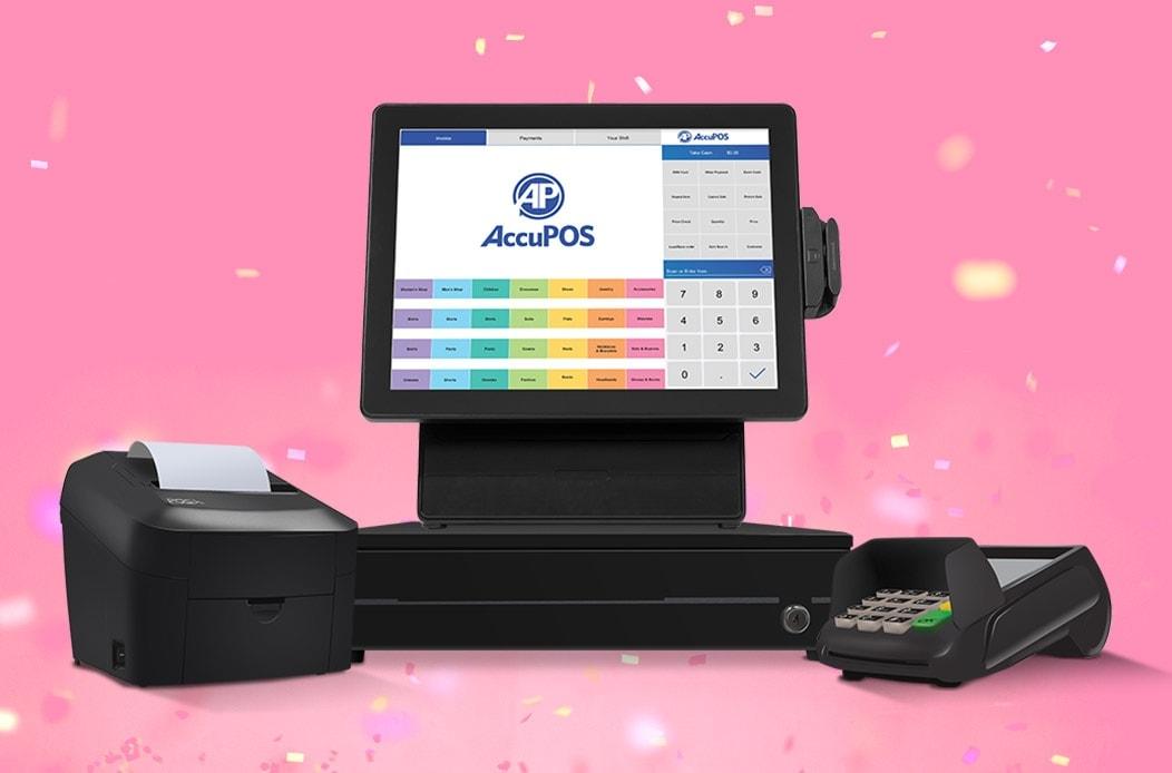 Windows desktop POS with AccuPOS, cash drawer, receipt printer and EMV card reader bundle