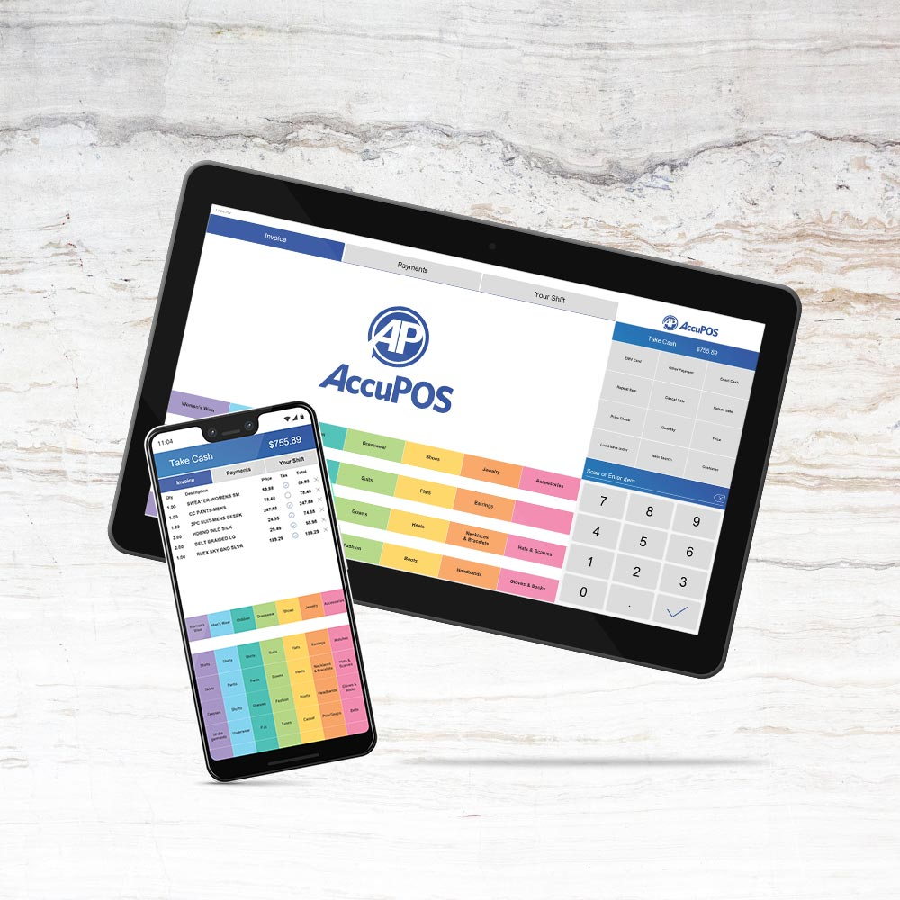 Tablet and phone devices running AccuPOS Point of Sale software for Android