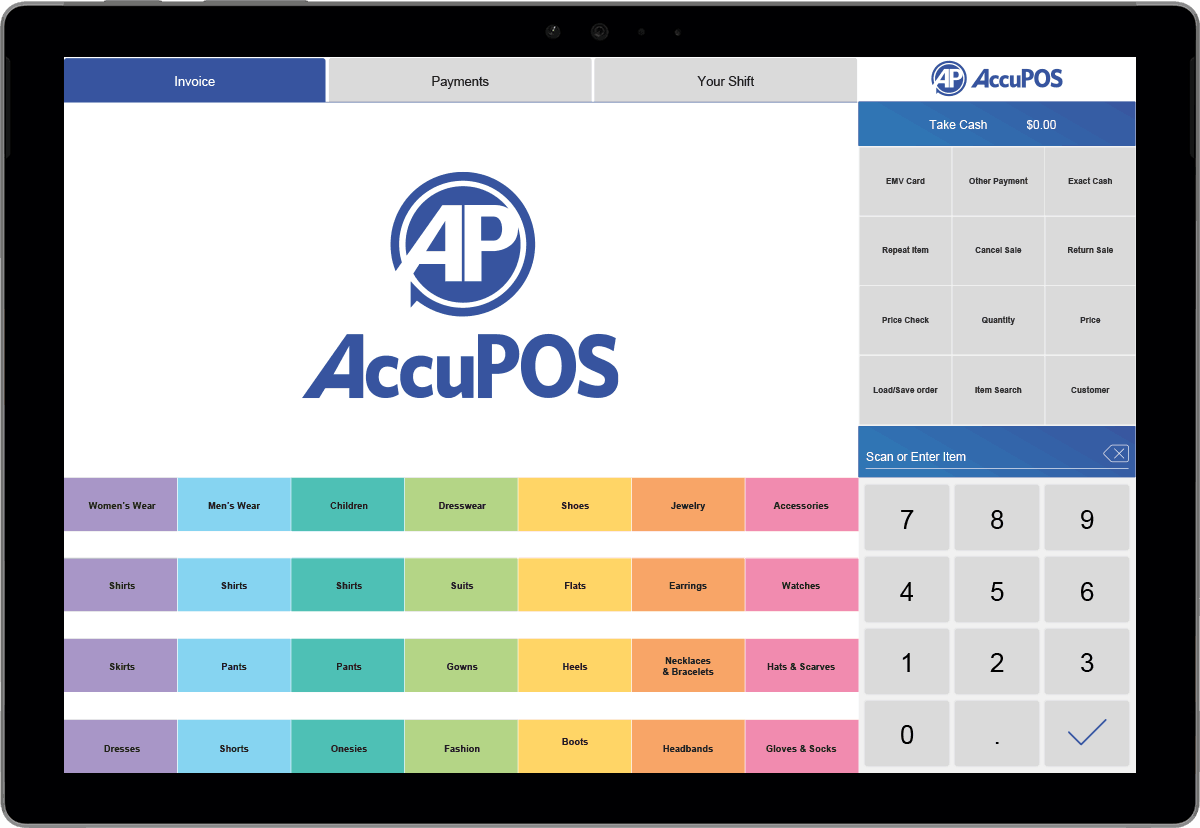 Best tablet POS system on Microsoft Surface by AccuPOS Point of Sale