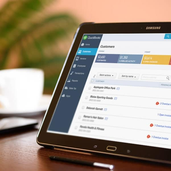 Tablet running QuickBooks for direct integrations with AccuPOS Point of Sale business software