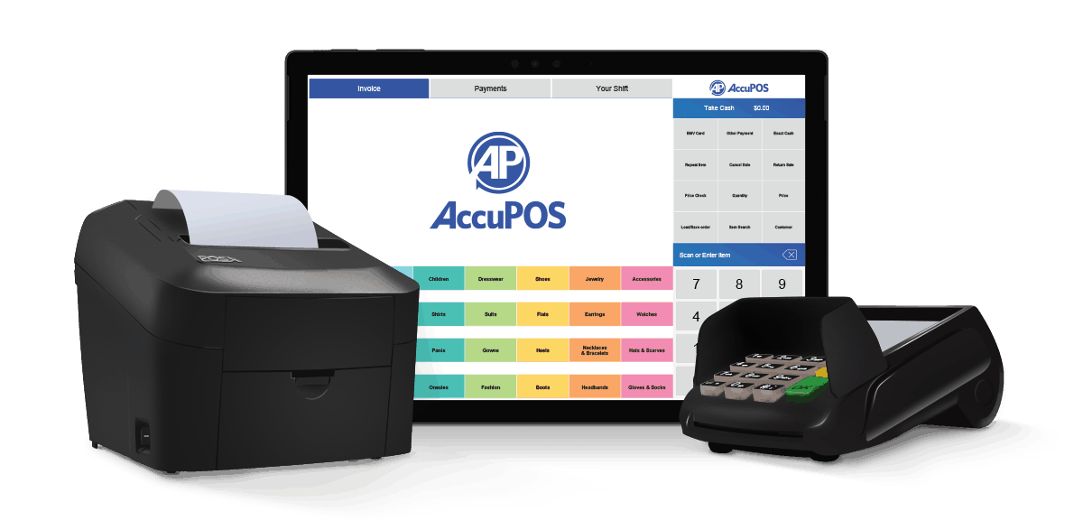 AccuPOS software and Windows hardware with Surface Pro, receipt printer, and EMV card reader for complete point of sale solutions