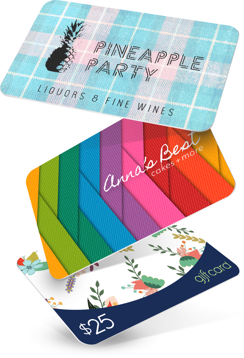 Colorful stack of customized AccuPOS gift cards