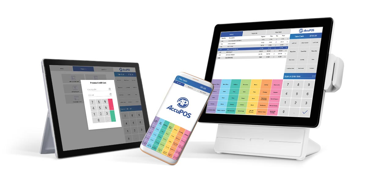 AccuPOS on desktop POS system and mobile devices