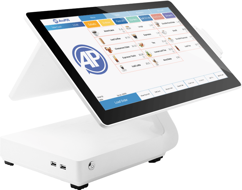 AccuPOS on desktop POS machine and Android mobile device