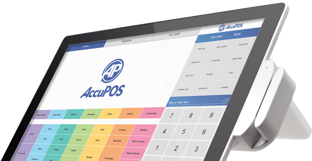 AccuPOS Point of Sale on modern touchscreen device
